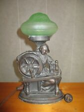 Vintage Art Deco Metal Table Lamp Lady Woman & Spinning Wheel Green Glass Shade