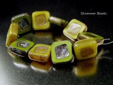 Czech Carved Square Glass Beads~Czech Olive Green-Yellow Mix 14mm