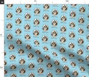 Dog Stripe Blue Animal Pet Shih Tzu Spoonflower Fabric by the Yard