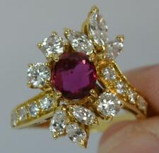 Stunning 1.75ct Diamond & Ruby 18ct Gold Cluster Cocktail Ring d0280