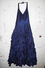 Gorgeous Blue Taffeta Cocktail Long Halter Dress Party Gown Ruffles