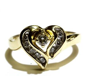 14k yellow gold .24ct SI3 H diamond heart womens ring 3.4g estate vintage ladies