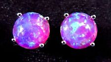 Silver 925 Filled Post Earrings 8mm Bright Purplish Pink Lab Fire Opal Cabochon