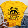 Women Camping is my Therapy Casual Hipster Blouse Tee Top Short Sleeve T-Shirt