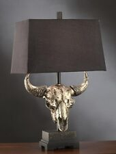 AGED BRONZE RESIN COW BULL SKULL TABLE LAMP / LIGHT LINEN SHADE WESTERN COWBOY