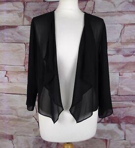 JACQUES VERT black chiffon cardigan bolero cover-up jacket medium