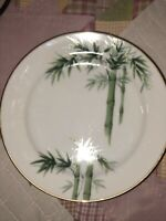 "Vintage Noritake Green Bamboo Nippon Toki Kaisha 7 1/2"" Salad Plates 1538G"