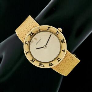 Vintage Corum Romvlvs 18k Yellow Gold Bracelet 34mm Round Thin Wrist Watch 57144
