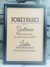 RECYCLED PAGE BATHROOM TOILET WALL POP ART PRINT PICTURE - TOILET RULES SIGN