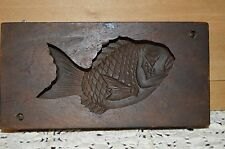 Antique JAPANESE KASHIGATA FISH Hand Carved Wood Rice & Sweet Cake Mold