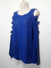 Nollie Women S Cold Shoulder Blue Pullover Sweater Open Knit Boat Neck Top Shirt