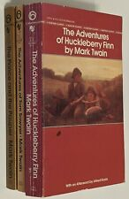 3 Vintage MARK TWAIN Paperbacks! Tom Sawyer Huckleberry Finn Prince & The Pauper