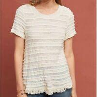 Anthropologie Eri + Ali Adia Textured Fringe Cream Tee Top, Size Large