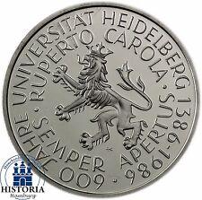 Germania 5 DM 1986 timbro lucentezza Università di Heidelberg in Münzkapsel