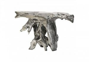 """56"""" W Console Table Liquid Silver Finish Free Form Resin Sculpture Contemporary"""