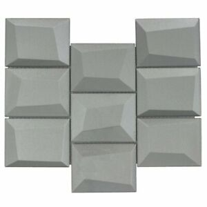 Faceted 3X4 Beveled Rectangle Gray Glossy Metallic Glass Mosaic Tile MTO0150