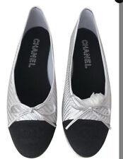 NEW Chanel Metallic Silver & Black Ballet Flats Eur 40/9-9.5 US