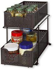 2 Tier Sliding Cabinet Basket Organizer Drawer, Bronze