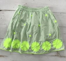 Girls Crewcuts Sz 14 Skirt Mint & Neon Green Embroidered Floral 🌸 Pockets!