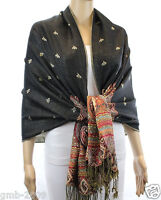 New Womens India Paisley Silk Pashmina Cashmere Shawl Scarf Stole Wrap Black