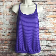 H&M Juniors Women's Medium athletic top gym stripe purple racer back SL flawed