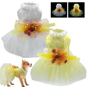 Flower Bowknot Dog Dresses Lace Shirt Wedding Party Dog Clothes White Yellow