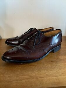 Gents Burgundy All Leather Wingtip Brogues Lace Up Shoes - UK 8