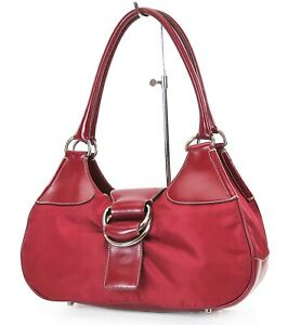 Authentic PRADA Red Nylon and Leather Tote Handbag Purse #37346