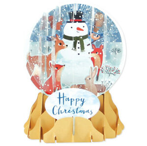 3D Pop Up Snow Globe Greetings Christmas Card - FOREST SNOWMAN - UP-WP-SGM-038