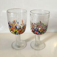 New listing (2) Home Studio Baja Confetti Collection Bubble Glass Water Goblets Multi-Color