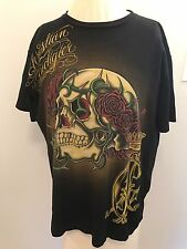 Christian Audigier Black Skull T Shirt Tattoo Design Men's Size Medium Los Angel