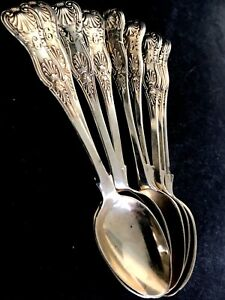 119gr 9 Vintage Denmark Sterling Repousse Shell Clam Figure Spoons~3 Towers Mark