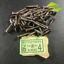 "61x VINTAGE NETTLEFOLDS 7/8"" x 4 COUNTERSUNK SLOTTED SCREWS HARDWARE"