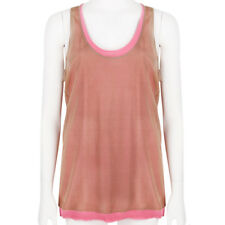 Reed Krakoff Raspberry Pink Taupe Double Layered Silk Tank Top L UK12