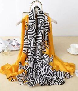 Silk Scarf in Yellow Gold With Black Zebra Print Design Ladies Womens Silk Scarf