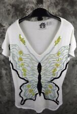 Storybook Knits Short Sleeve Sweater Knit Top Large White Glittering Butterflies