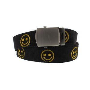 Zac's Alter Ego® Adjustable Smiley Face Canvas Webbing Belt with Slider Buckle