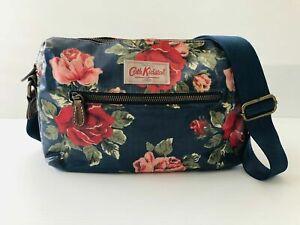 Cath Kidston London Navy Floral Coated Cotton Crossbody Bag Satchel Leather Trim
