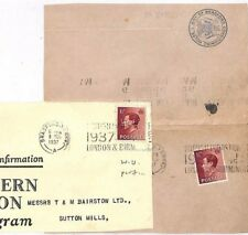 Jj5 Gb Keviii Perfins{2} 1937 *Wu* Western Union Cable *Bc* Bradford Part Covers