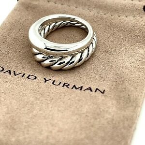 DAVID YURMAN Sterling Silver Pure Form Set Of 2 Stack Rings $500