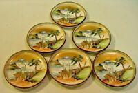 Antique Meiji FINE Japanese KUTANI Set of 6 Side Plates, Hand Painted, Signed