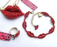 Betsey Johnson red crystal Sexy lips pendant Necklace Bracelet Ring Set,#257T