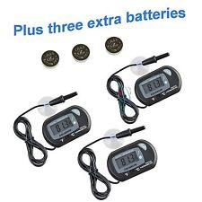 3 pcs Lcd Digital Fish Aquarium Thermometer Water Black Free Extra Batteries