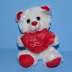 "Valentine's Teddy Bear Plush Stuffed Animal Love Heart White Red Small 8"" NEW"
