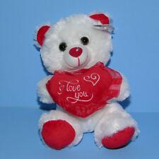 "Valentine's Teddy Bear Plush Stuffed Animal Love Heart White Red Small 8"" NEW"