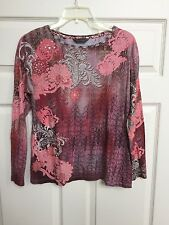 Robert Graham Long Sleeve Snakeskin Floral Sequence Tunic Top Blouse STUNNING L