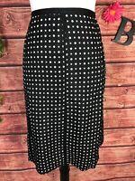 Style & Co Skirt size 14 Black White Polka Dots Silk Knee A Line Modest Career