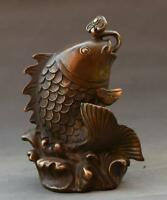 Chinese Feng Shui Old Copper Sea Wave Fish Ruyi coin Weath Lucky Decorate Statue
