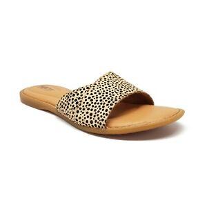 Born 'Gudena' Slide Sandals in Tan/Black Cheetah Womens Size 7