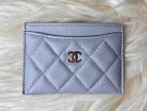 NEW Chanel 2021 Collection Grey Caviar Leather Champagne Gold Card Holder Wallet